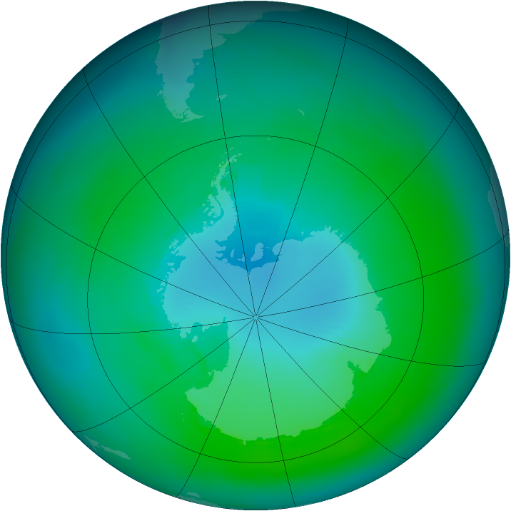 Antarctic ozone map for February 1988