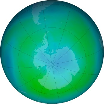 Antarctic ozone map for 1988-03
