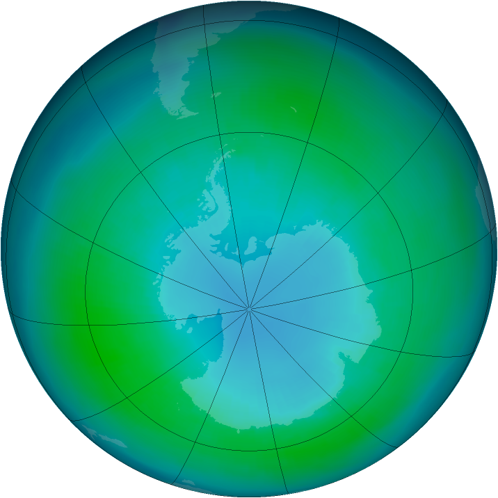 Antarctic ozone map for April 1988
