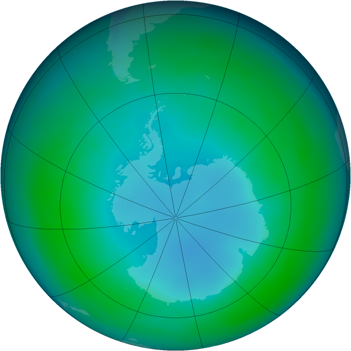 Antarctic ozone map for May 1988