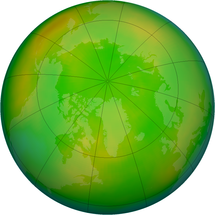 Arctic ozone map for June 1988