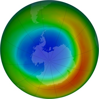 Antarctic ozone map for 1988-09