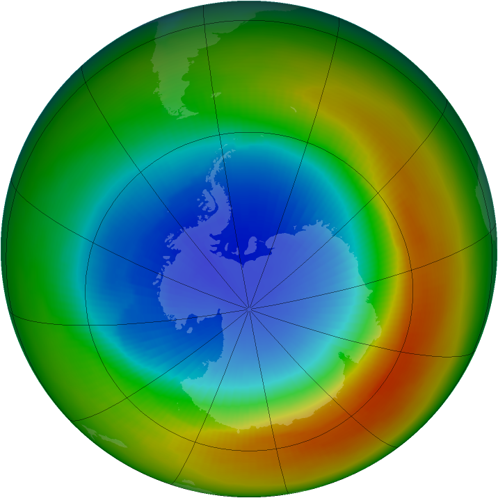 Antarctic ozone map for September 1988