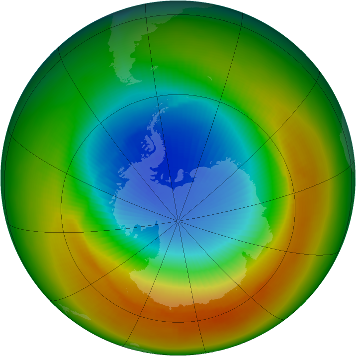 Antarctic ozone map for October 1988