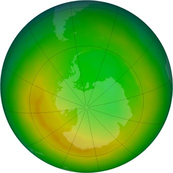Antarctic ozone map for 1988-11