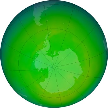 Antarctic ozone map for 1988-12