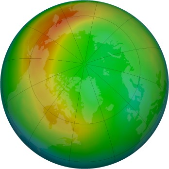 Arctic ozone map for 1989-01