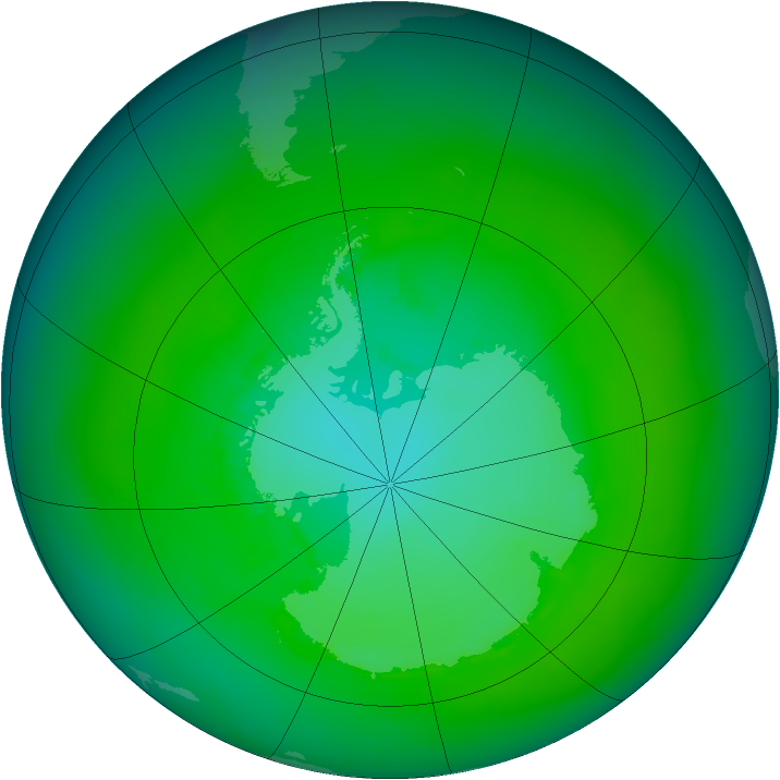Antarctic ozone map for January 1989
