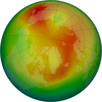 Arctic ozone map for 1989-02
