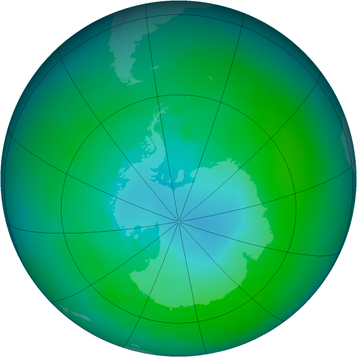 Antarctic ozone map for February 1989