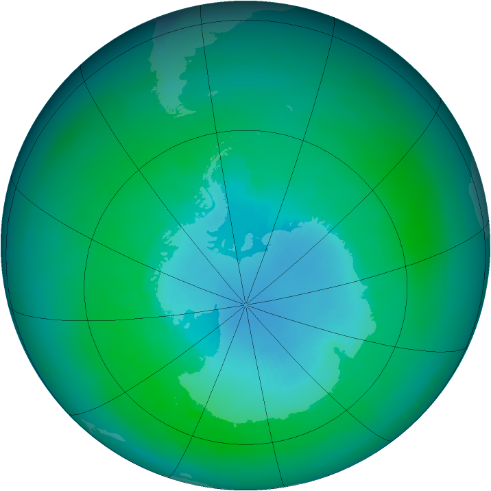 Antarctic ozone map for March 1989