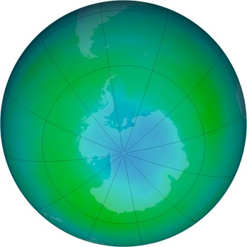 Antarctic ozone map for 1989-03
