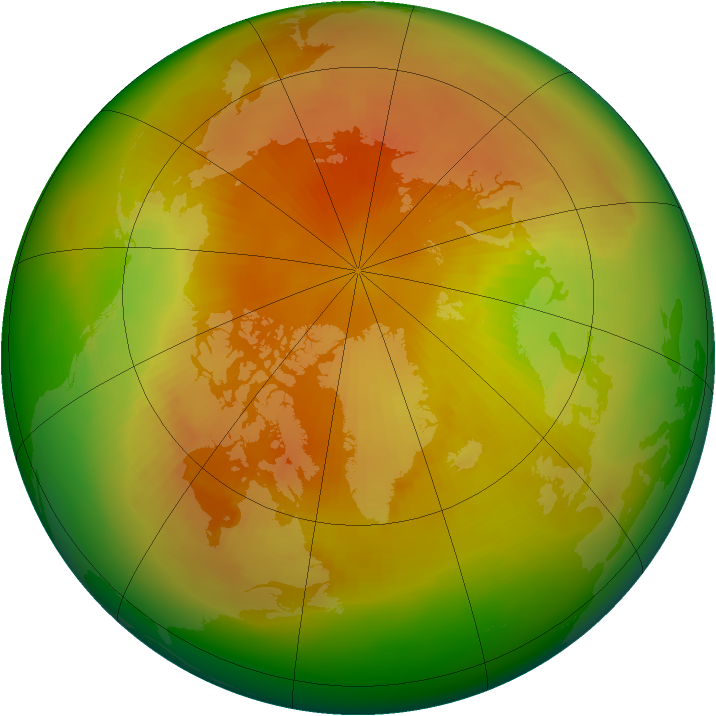 Arctic ozone map for April 1989