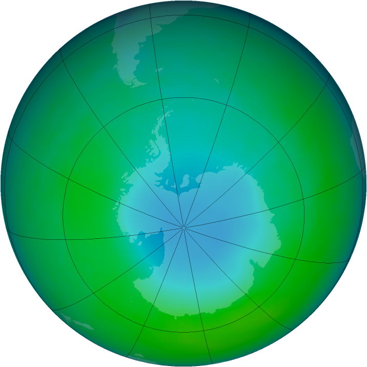 Antarctic ozone map for May 1989
