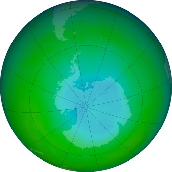 Antarctic ozone map for 1989-06