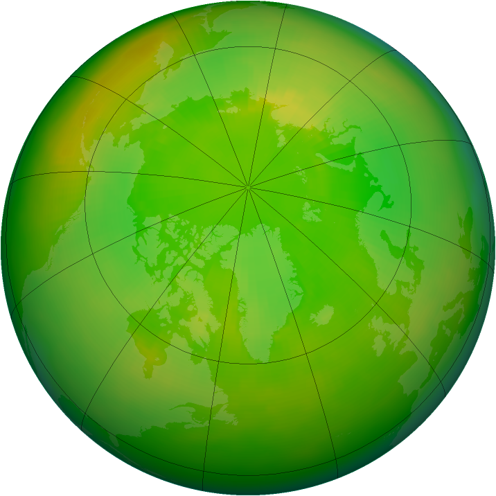 Arctic ozone map for June 1989