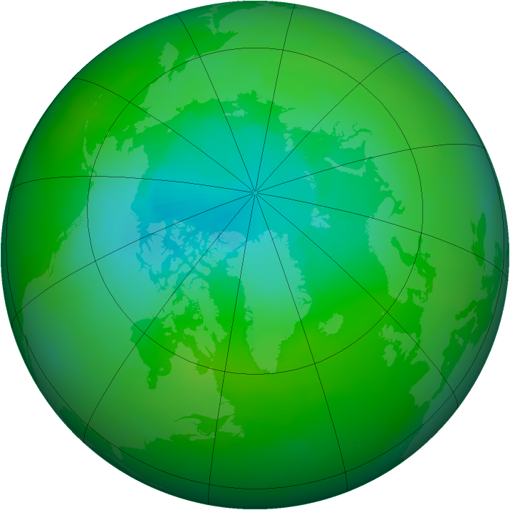 Arctic ozone map for August 1989