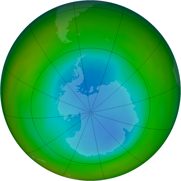 Antarctic ozone map for August 1989
