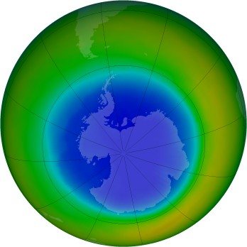 Antarctic ozone map for 1989-09