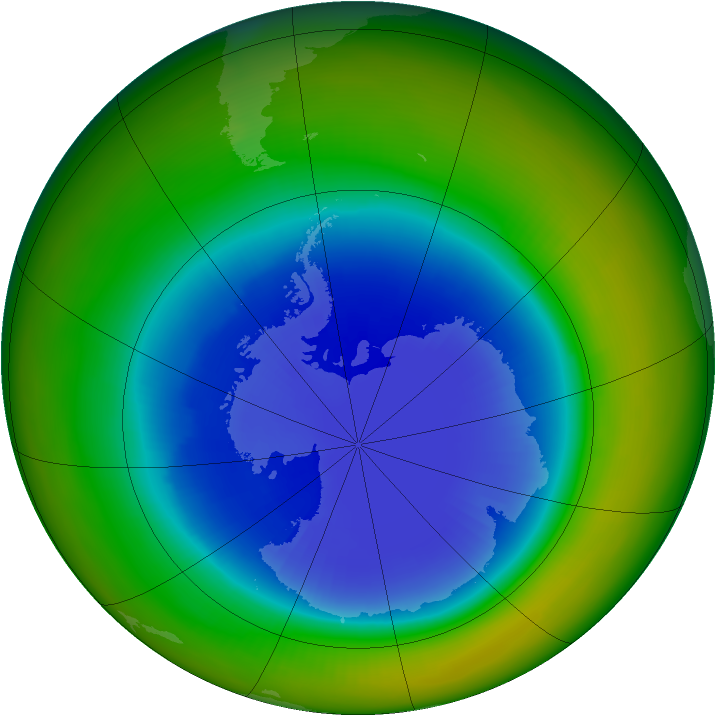 Antarctic ozone map for September 1989