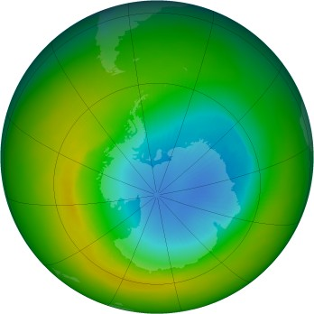 Antarctic ozone map for 1989-11