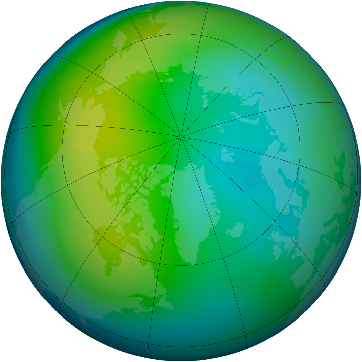 Arctic ozone map for November 1989