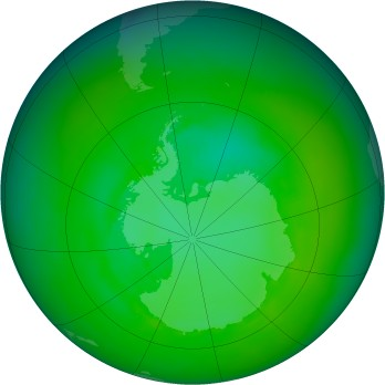Antarctic ozone map for 1989-12