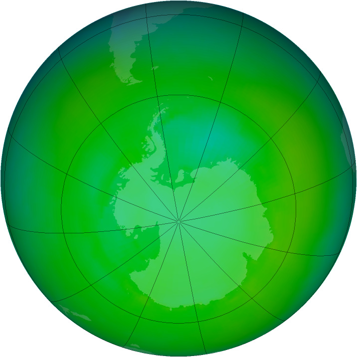Antarctic ozone map for December 1989