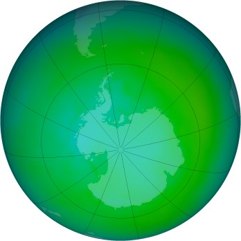 Antarctic ozone map for 1990-01