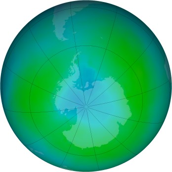 Antarctic ozone map for 1990-02