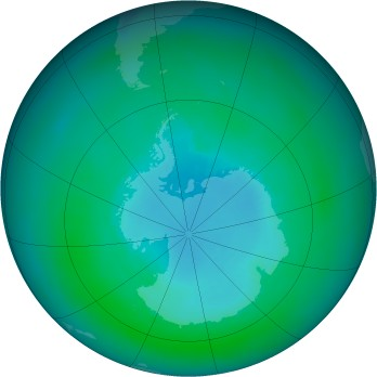 Antarctic ozone map for 1990-03