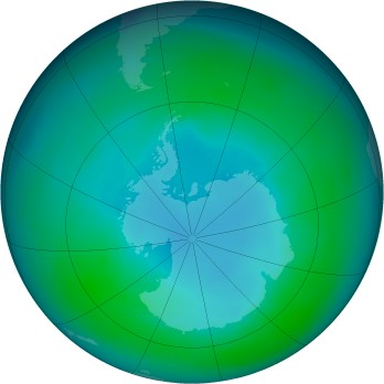 Antarctic ozone map for 1990-04