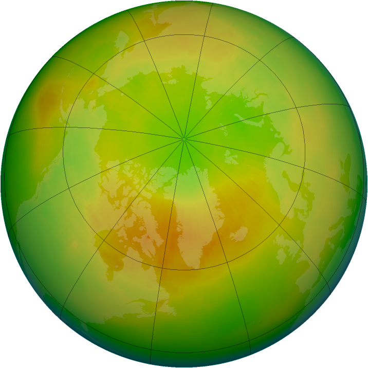 Arctic ozone map for April 1990