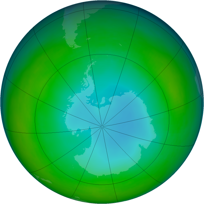 Antarctic ozone map for July 1990