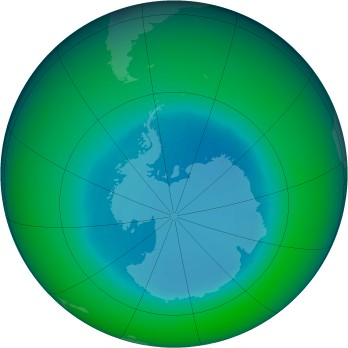 August 1990 monthly mean Antarctic ozone