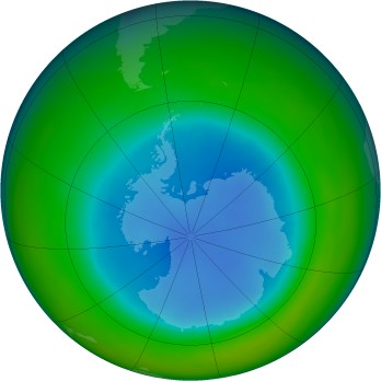 Antarctic ozone map for 1990-08
