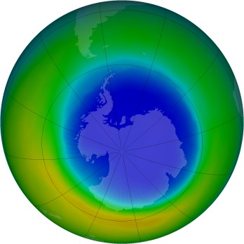 Antarctic ozone map for 1990-09