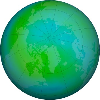 Arctic ozone map for 1990-10