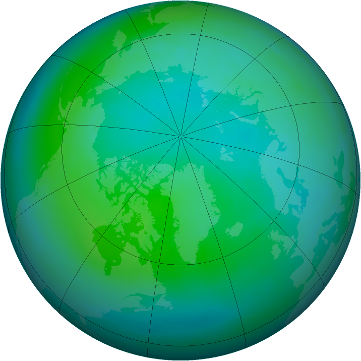 Arctic ozone map for October 1990
