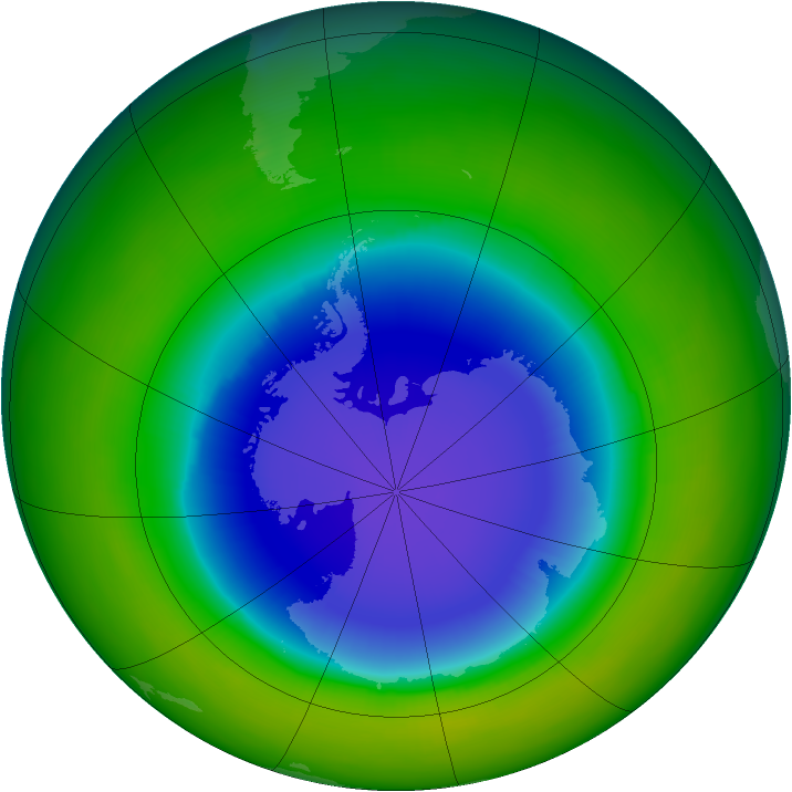 Antarctic ozone map for October 1990