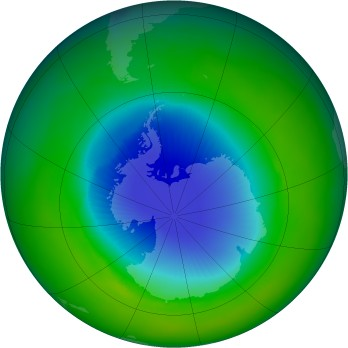 Antarctic ozone map for 1990-11