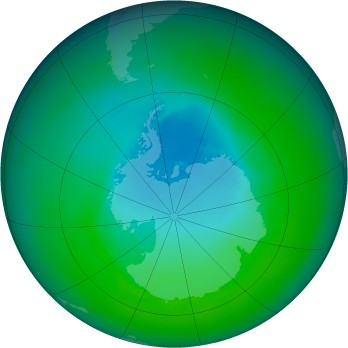 Antarctic ozone map for 1990-12