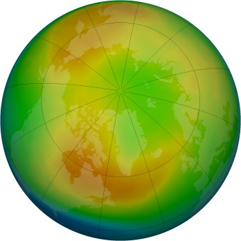 Arctic ozone map for 1991-01
