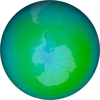 Antarctic ozone map for 1991-01