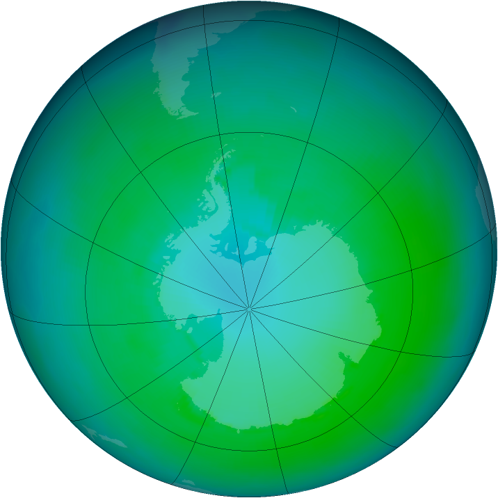 Antarctic ozone map for January 1991