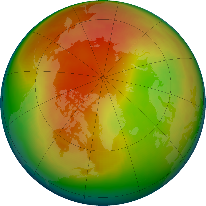 Arctic ozone map for February 1991