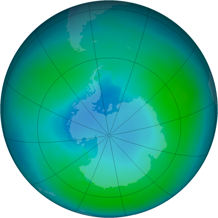 Antarctic ozone map for February 1991