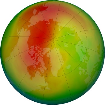Arctic ozone map for 1991-03