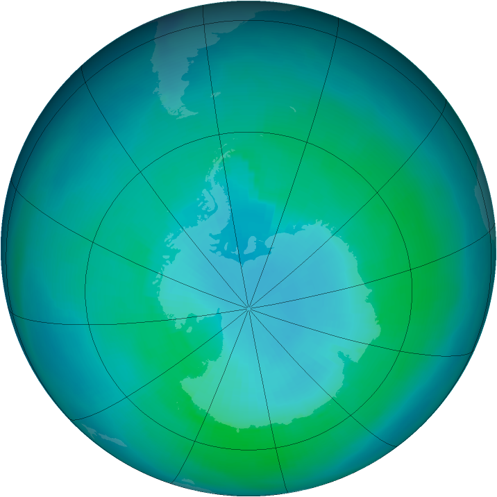 Antarctic ozone map for March 1991