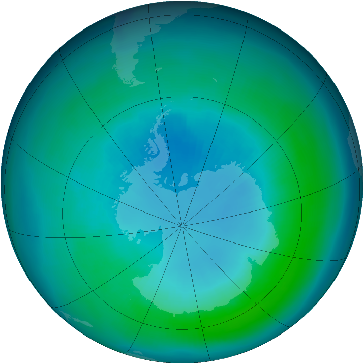 Antarctic ozone map for April 1991